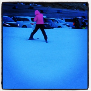 skiing down the hill…leaving others behind ;) See ya!