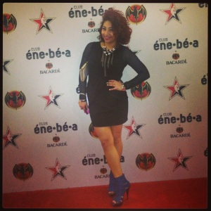 At the éne-bé-a party. Dress: Forever 21; Shoes: Agaci; Necklace: Sam Moon