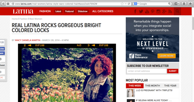 Lucky enough to be featured on Latina.com for winning the #LatinaStyleWars Instagram challenge
